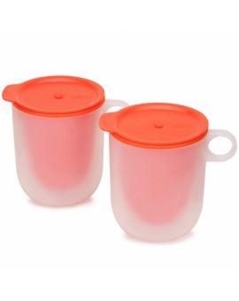 Стакан для микроволновки с двойными стенками и крышкой M-Cuisine (2 шт) - Orange