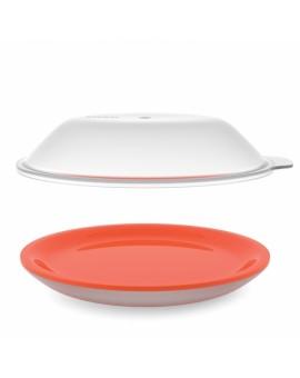 Тарелка для микроволновки с двойными стенками и крышкой M-Cuisine - Orange