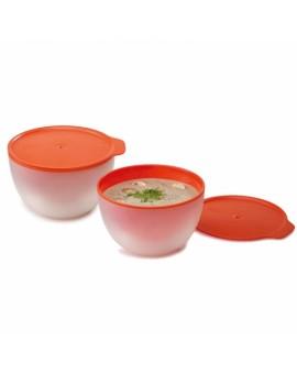 Набор емкостей для микроволновки с двойными стенками M-Cuisine (2 шт) - Orange