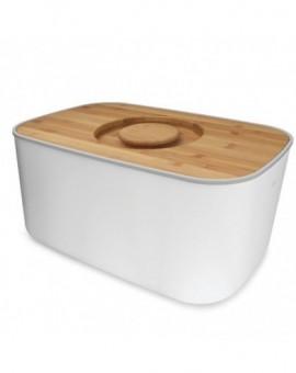 Стальная хлебница с бамбуковой крышкой-доской Steel Bread Bin - White