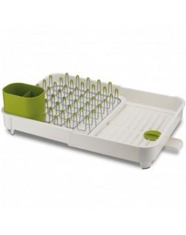 Регулируемая сушилка для посуды бело-зеленая Extend