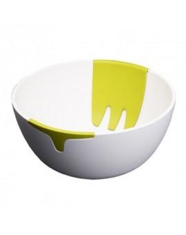 Салатник с ручками для смешивания Hands-On Salad Bowl & Servers -White